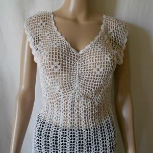 Women's Betty Paige Crochet White Sleeveless Top